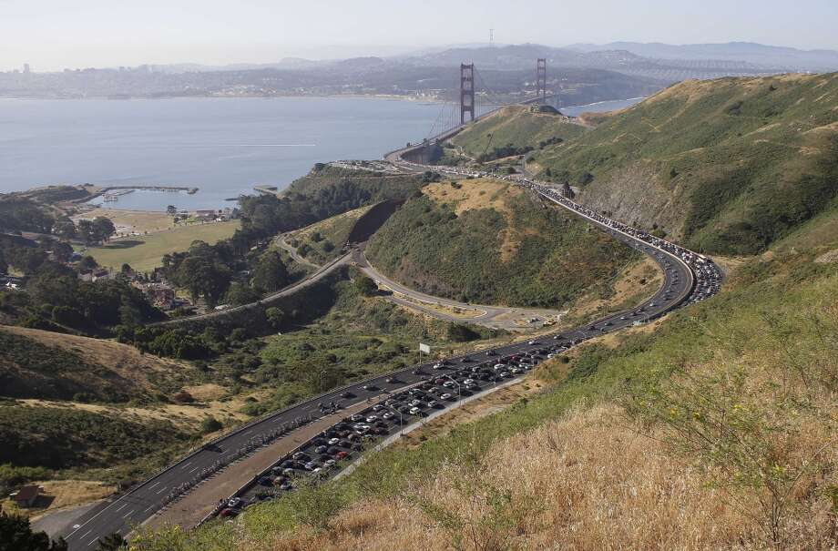 Just past the Golden Gate Bridge along Highway 101 in Sausalito is another notorious place to get a ticket for going too fast. (AP Photo/Eric Risberg) Photo: Eric Risberg, Associated Press