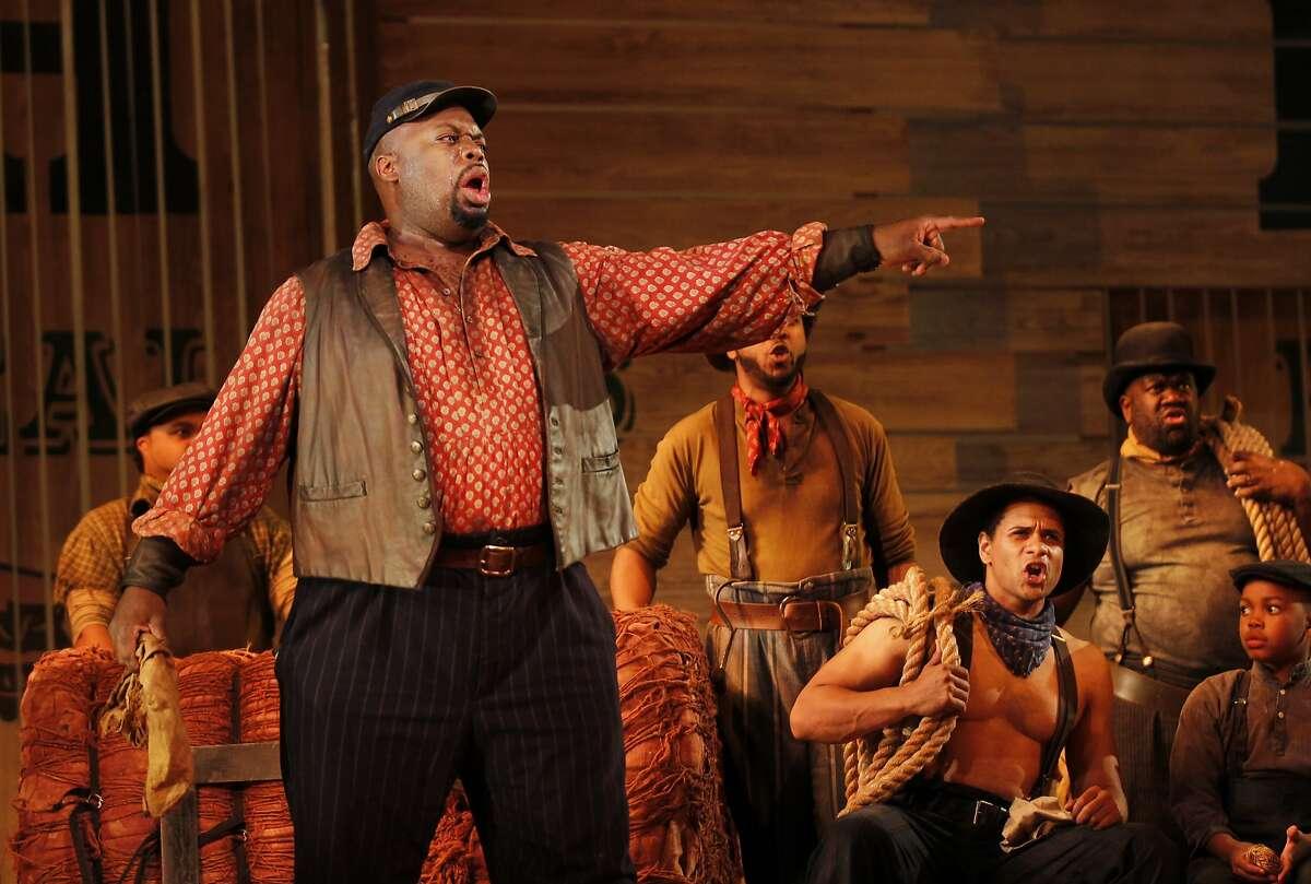 "Morris Robinson as Joe sings ""Old Man River"" during SF Opera's ""Show Boat"" dress rehearsal in the War Memorial Opera House May 30, 2014 in San Francisco, Calif."