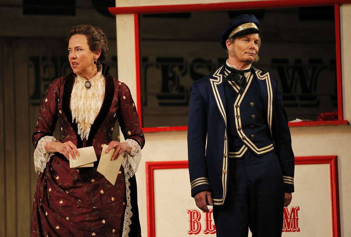 """Harriet Harris as Parthy Ann Hawks, left, shares a moment with Bill Irwin as Cap'n Andy Hawks during SF Opera's """"Show Boat"""" dress rehearsal in the War Memorial Opera House May 30, 2014 in San Francisco, Calif."""