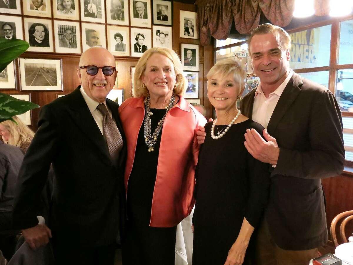 Wilkes Bashford (left) with host Sally Debenham, Gail Glasser and Oscar de la Renta exec Boaz Mazor at her John's Grill dinner. May 2014. By Catherine Bigelow