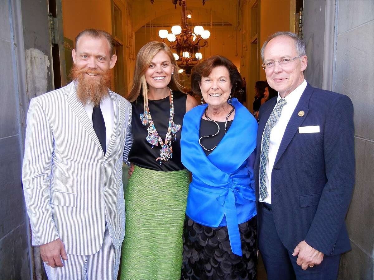 Photographer Ward Robinson (at left) with his sister, Annie Woods, mom Mary Robinson and SFAI President Charles Desmarais at the Old Mint for the Vernissage Gala. May 2014. By Catherine Bigelow