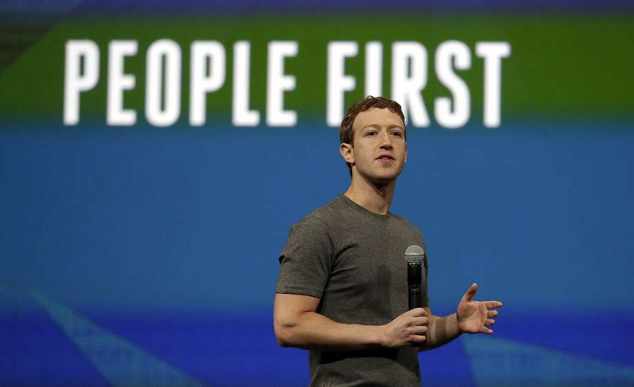 Facebook CEO Mark Zuckerberg delivers the keynote address at the F8 developers conference in San Francisco. Photo: Ben Margot, Associated Press