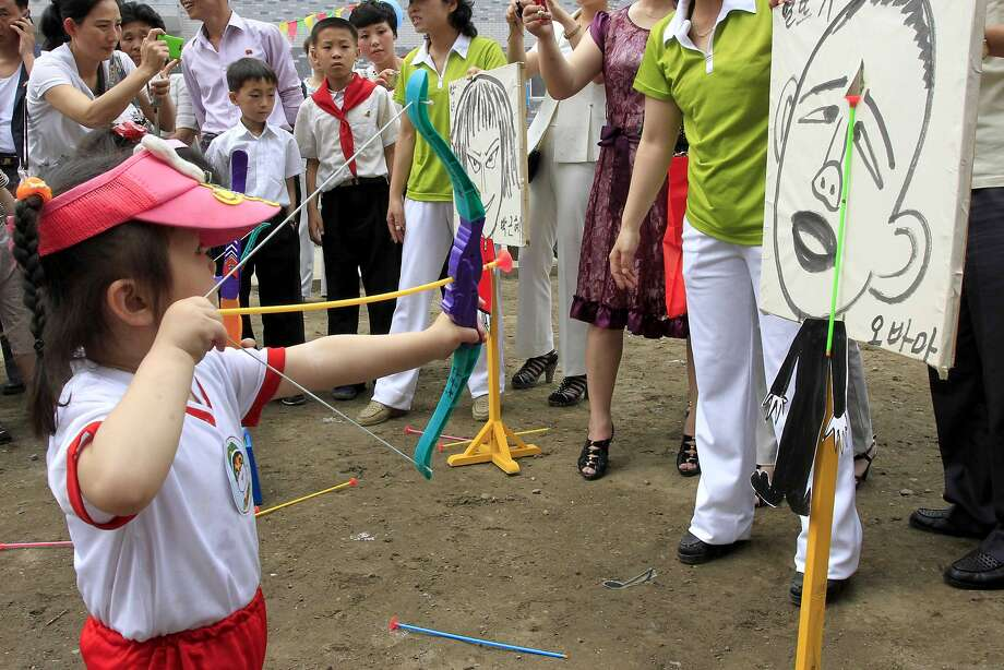North Korea's 'Hunger Games':The leader of the Free World gets no respect on International Children's Day in Pyongyang. Photo: Kim Kwang Hyon, Associated Press