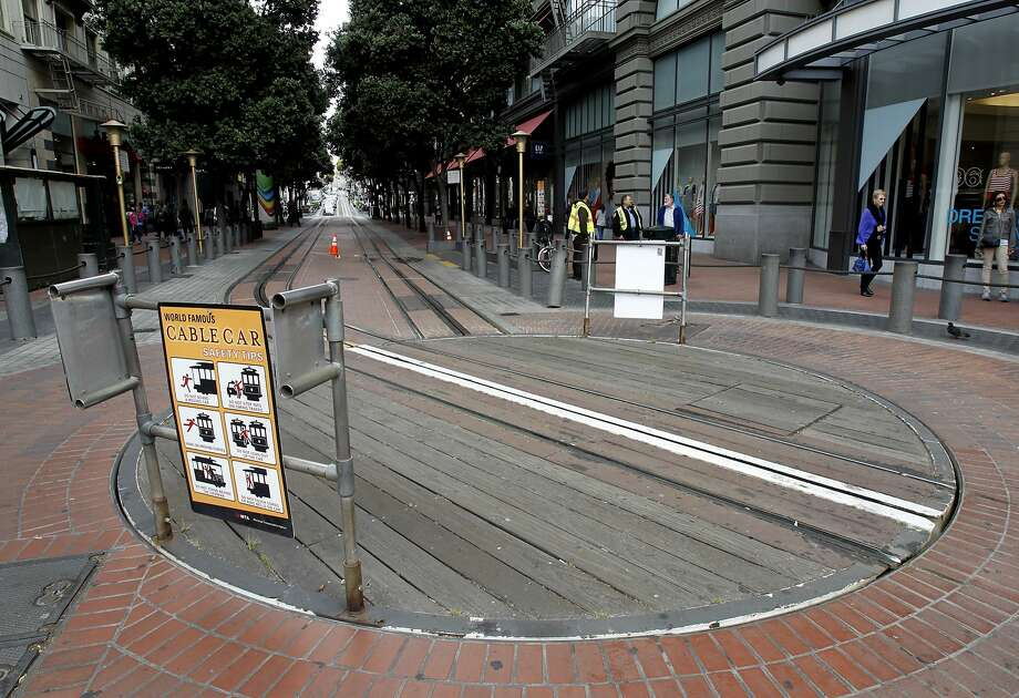 The usual long lines at S.F.'s Powell Street cable car turnaround were not to be found Monday after an unofficial sickout by hundreds of Muni operators led to the cancellation of cable car service. Photo: Brant Ward, The Chronicle