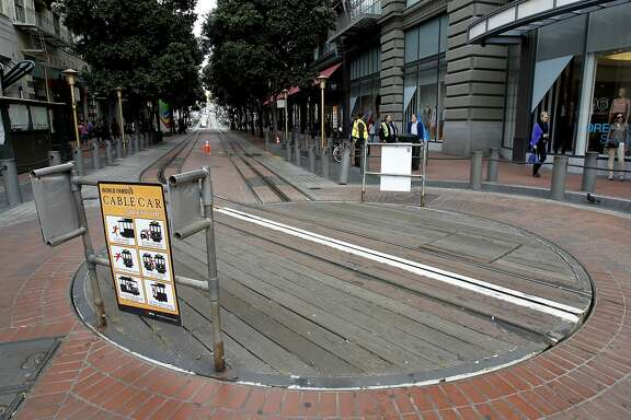 The turnaround for the Powell Street cable car line was strangely quiet Monday June 2, 2014. Massive delays on the MUNI system in San Francisco, Calif. resulted when many drivers called in sick to protest a labor contract problem.