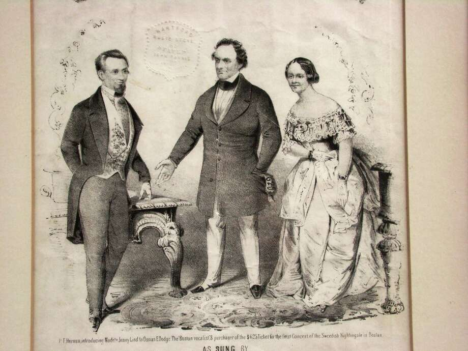 Although the Barnum Festival's annual Jenny Lind festivities are on hiatus, her spirt is alive and well at the Barnum Museum. The Swedish soprano, one of America's first superstars, was promoted by P.T. Barnum. Here, Barnum, center, auctions off the first ticket for Lind's first concert in America for the then-huge sum of $225; the average price of tickets was $6.38. Photo: Contributed Photo / Connecticut Post Contributed