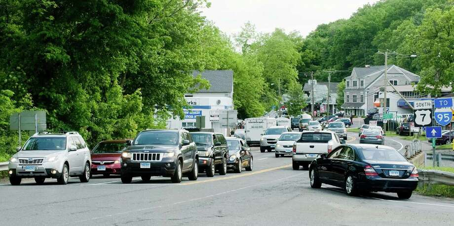 Traffic buildup at the intersection of Branchville Road and Route 7 in Ridgefield. Friday, May 30, 2014 Photo: Scott Mullin / The News-Times Freelance