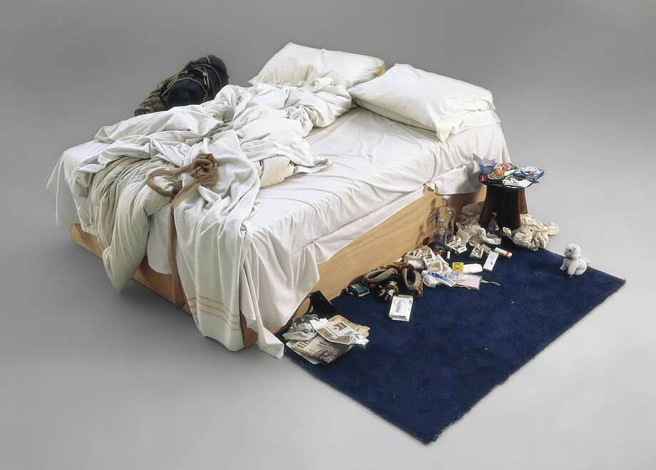 "Slob's bed worth over a $million: ""My Bed,"" British artist Tracey Emin's 1998 artwork of her unmade bed littered with condoms, cigarette packs and underwear, is expected to fetch about $1.7 million at auction at Christie's in London. Photo: Christies, AFP/Getty Images"