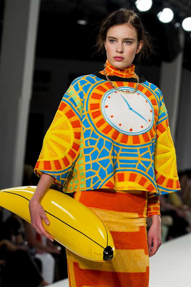 A model wears an appealing outfit by Stephanie Chesworth during the University of Central Lancashire's show at Graduate Fashion Week 2014 in London. Photo: Tristan Fewings, Getty Images