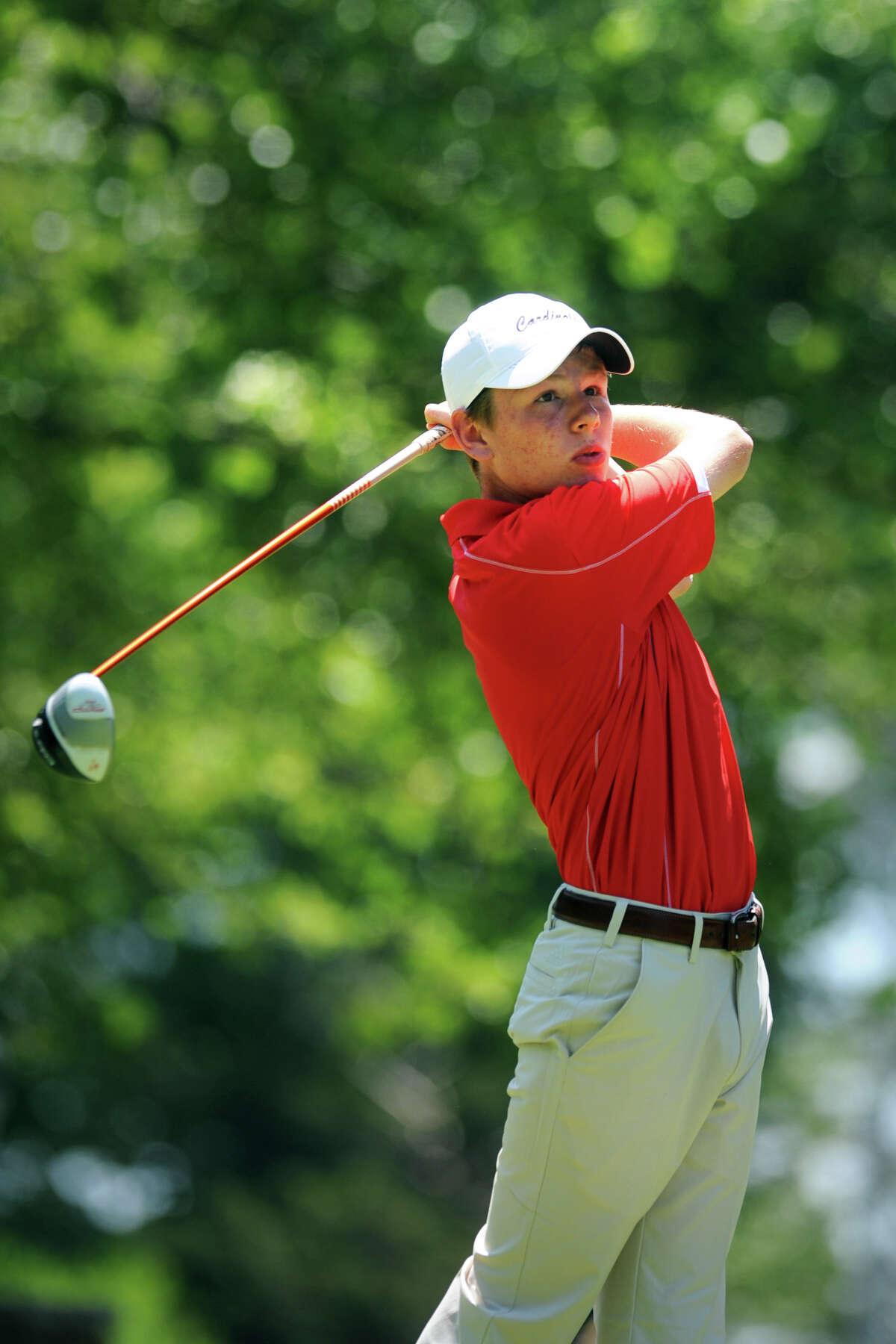 Greenwich High School's Derek Sudell competes in the FCIAC Boy's Golf Championship at Fairchild Wheeler Golf Course, in Fairfield, Conn. June 2, 2014.