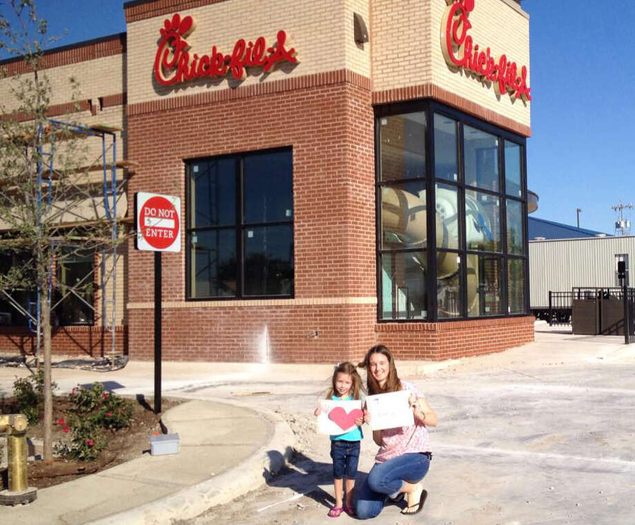 "Taera Stille Mulder won the ""selfie"" contest held by Chick-fil-A, opening Thursday in Schertz. and will get 50 free chicken sandwiches, in honor of the chain's 50th anniversary. Photo: Courtesy Photo"
