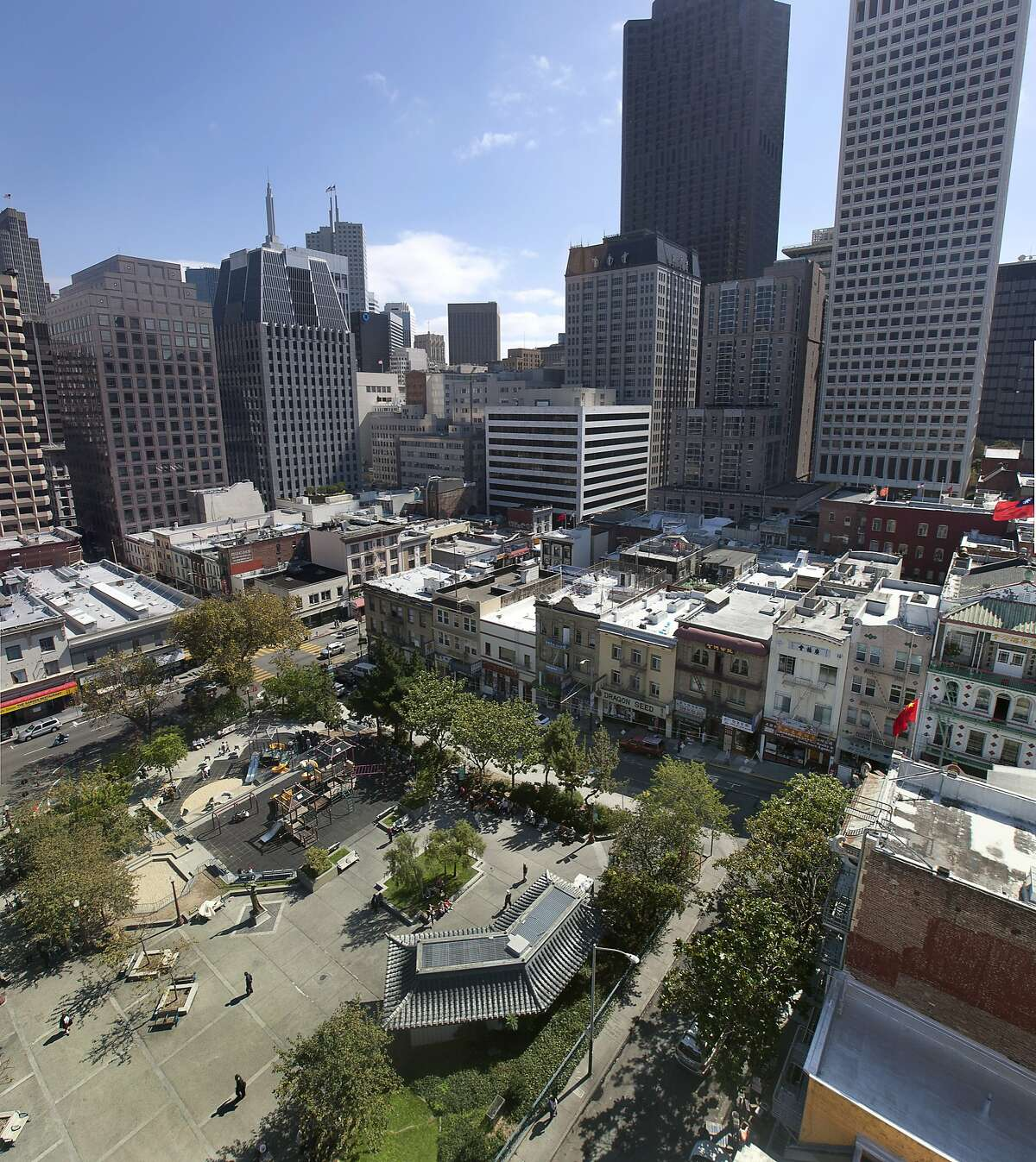 A stitiched image of residents of San Francisco enjoy the sunshine in Portsmouth Square, a popular park in Chinatown in San Francisco, Calif. on Friday, Sept. 30, 2011. The proposed Transbay development project will cast it's shadow across the Square.