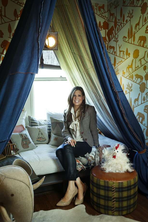 "Regan Baker, in the denim tent she designed for the  S.F. Decorator Showcase.  ""My children inspire me to appreciate the kids' view of design,"" she says. Photo: Russell Yip, The Chronicle"