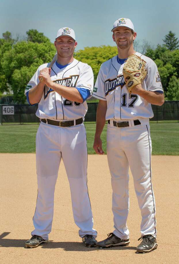 Albany Dutchmen and Baylor University teammates Cameron Miller, left, pitcher Drew Tolson, right, pose for a photo Monday, June 2, 2014, at  Plumeri Sports Complex in Albany, N.Y. (Tom Brenner/ Special to the Times Union) Photo: TB / 00027145A