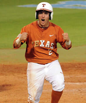 Texas' Mark Payton reacts after scoring a run during the seventh inning of an NCAA baseball regional game against Texas A&M, Monday, June 2, 2014, at Reckling Park in Houston. Photo: Eric Christian Smith, For The Chronicle