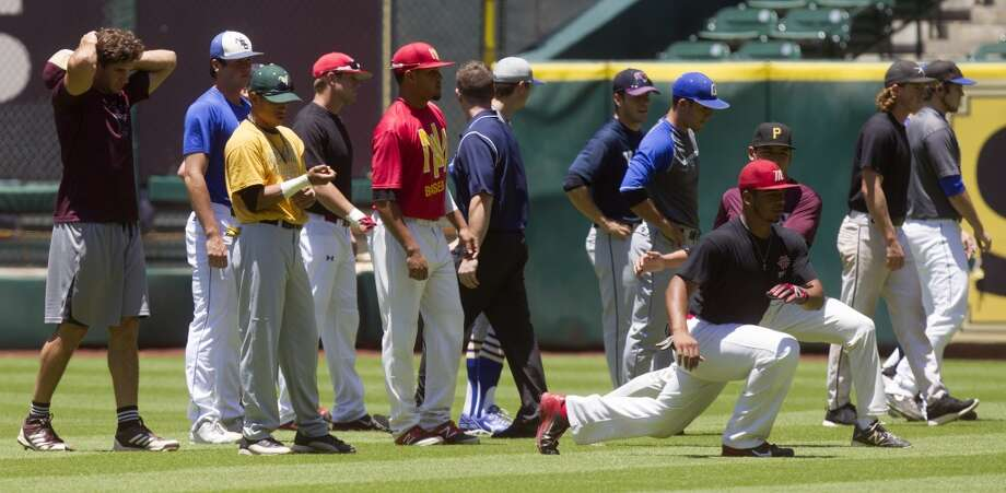 The Houston Astros invited nearly two dozen regional players for a pre-draft workout at Minute Maid Park on Monday, June 2, 2014, in Houston. ( J. Patric Schneider / For the Chronicle ) Photo: For The Chronicle