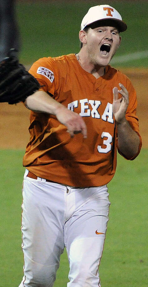 Texas pitcher Chad Hollingsworth rejoices after his two-hit victory over the Aggies at Rice's Reckling Park in the Houston Regional. Photo: Eric Christian Smith / Houston Chronicle