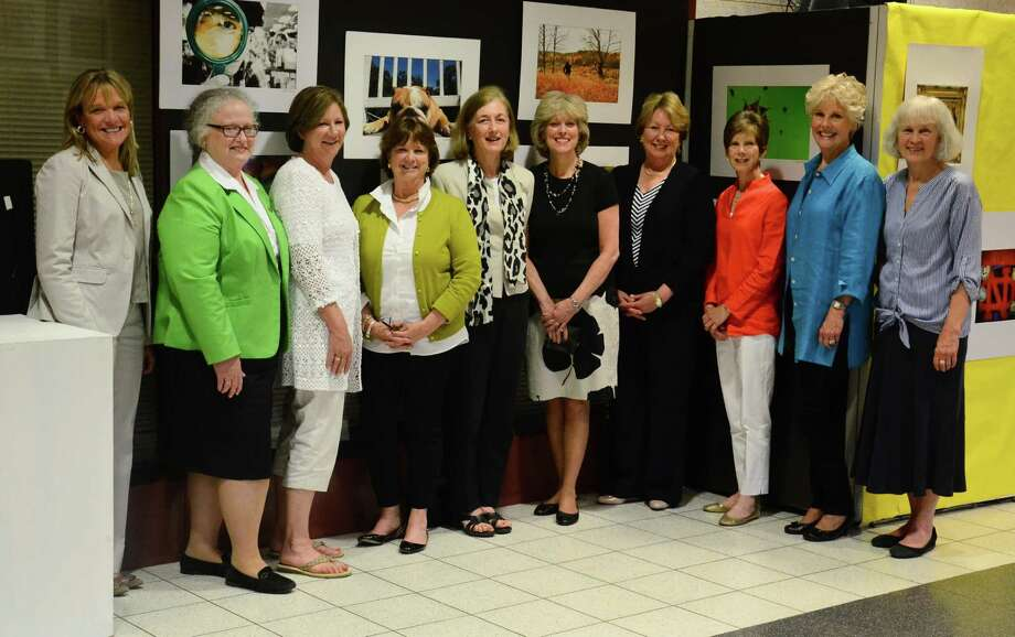 """Ten of this year's 13 retiring educators pose for a photo at the New Canaan High School, in New Canaan, Conn., Monday, June 2, 2014. From left to right, West Elementary School Acting Principal Joanne LaVista, teachers Mary Ellen Lyons and Debra Cassens, Anne Mullin, East Elementary School Principal Alexandra """"Bunny"""" Potts, and teachers Wendy Guda, Ann Clay, Stephanie Moore, Lynn Hohl and Mary Lou Cantrell. Photo: Nelson Oliveira / New Canaan News"""
