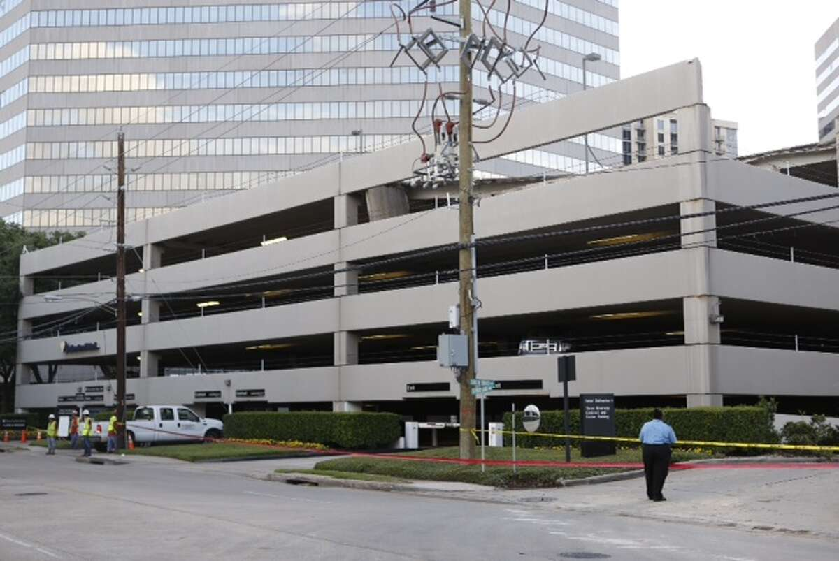 The Houston Fire Department responded to the call of a garage collapse at One Riverway at 7:51 p.m. Monday. A portion of the structure collapsed from the eighth floor, the top, onto the seventh floor.