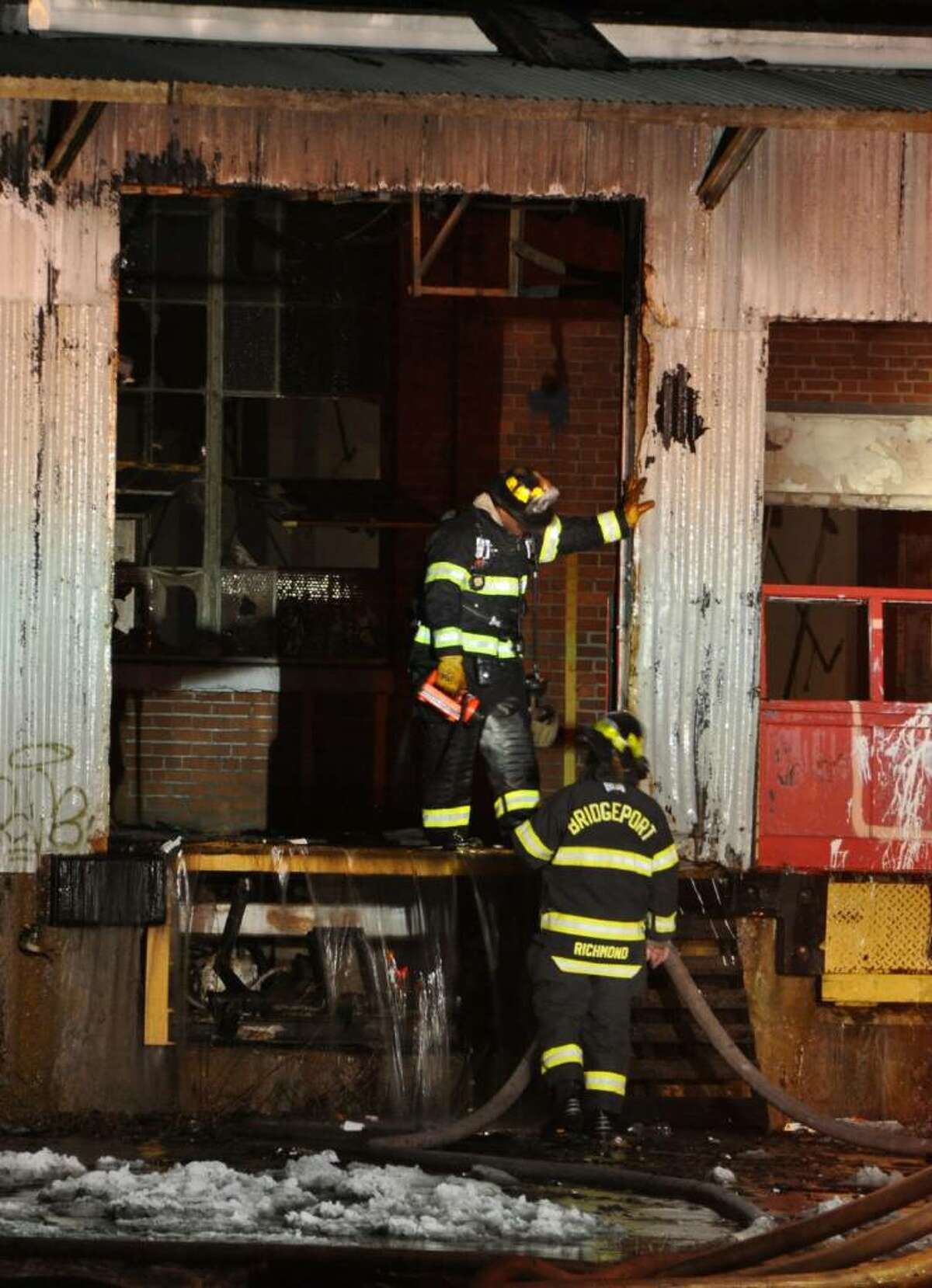 A stubborn blaze heavily damaged a vacant factory Sunday night that fire officials say is the site of many previous fires. The fire at the corner of Seaview Avenue and Grant Street broke out about 5:45 p.m. and at one point was