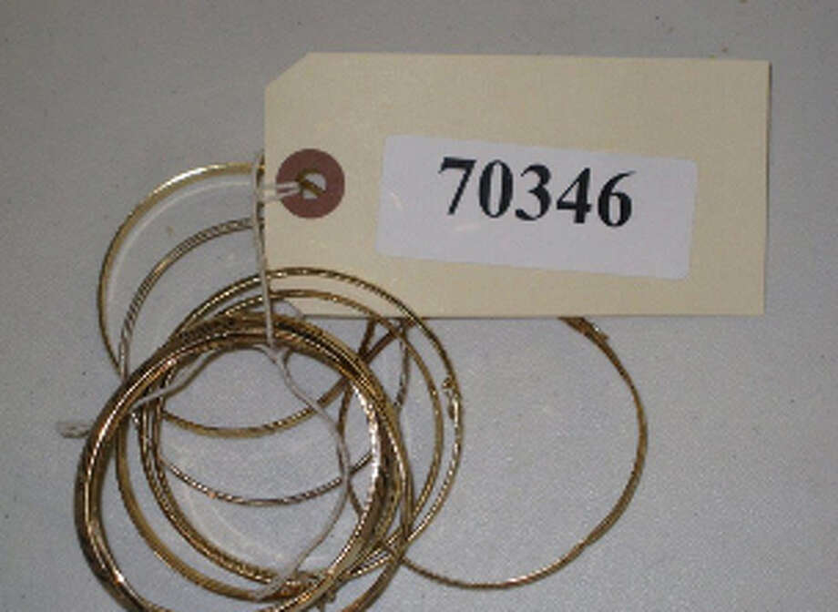 8-EA, GOLD COLOR BANGLE BRACELETS, 4-MK-10K, 4-NO-MK, 42 GR, item # 70346, CS#13004365 Photo: San Antonio Police Department