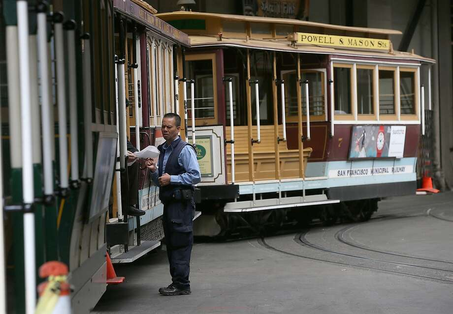 Cable Cars sit idle at the historic Cable Car Barn and Powerhouse in San Francisco during the SF MUNI sickout in June. Sixty of the 762 Muni operators involved in the infamous three-day  sickout picked up their paychecks the same day they called  insick. Photo: Justin Sullivan, Getty Images