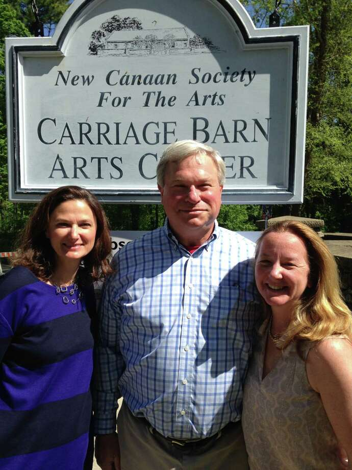 Among those organizing the wine and cheese tasting fundraising event, scheduled for Saturday, June 14, are, from left, Arianne Faber Kolb, co-director of the Carriage Barn Arts Center; Ben Bilius, Rotary Club of New Canaan; and Eleanor Flatow, co-director of the Carriage Barn Arts Center. Photo: Contributed Photo, Contributed / New Canaan News Contributed
