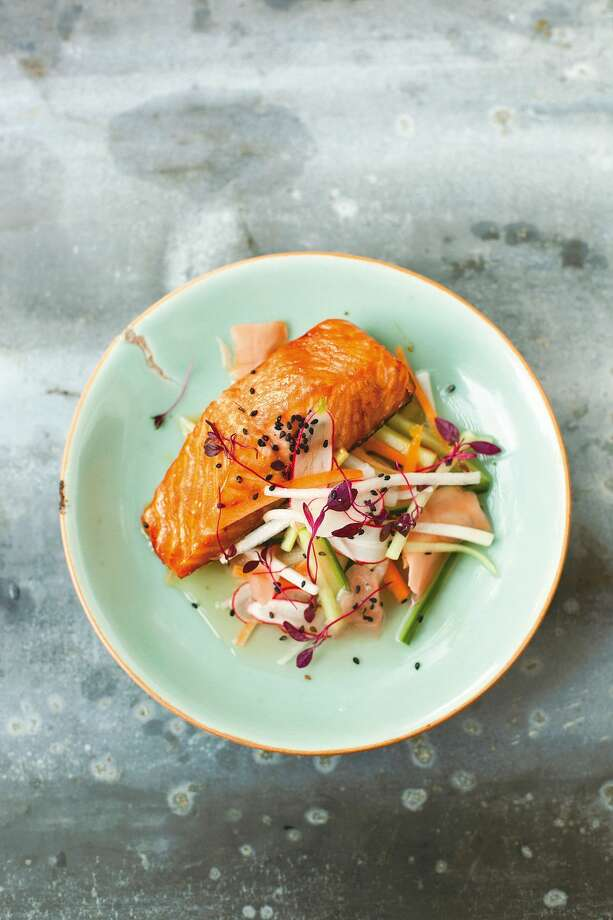 "Teriyaki Salmon with Pickled Vegetables and Sesame Seeds, from ""A Change of Appetite,"" by Diana Henry Photo: Laura Edwards / ONLINE_YES"