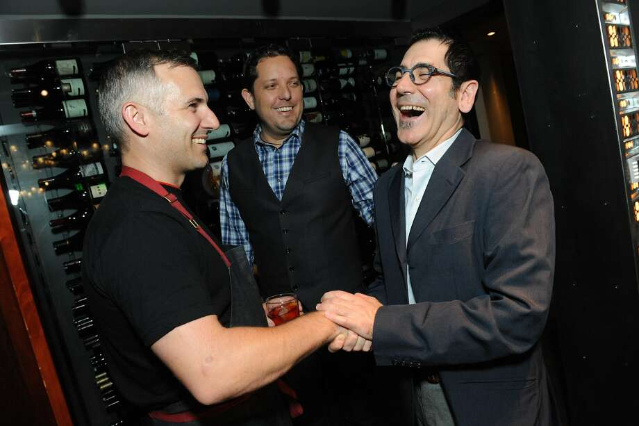 The San Francisco Chronicle celebrated their choice of the top 100 Bay Area restaurants at the Dirty Habit in San Francisco on June 2, 2014. From left are: David Bazirgan from Dirty Habit, Jacques Bezuidenhout, and Massimiliano Conti of La Ciccia. Photo: Susana Bates, Special To The Chronicle