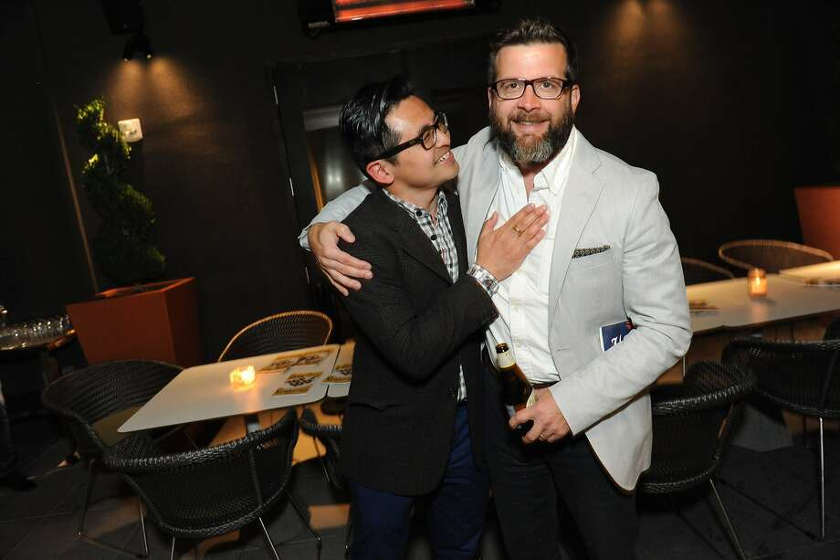 The San Francisco Chronicle celebrated their choice of the top 100 Bay Area restaurants at the Dirty Habit in San Francisco on June 2, 2014. From left are: Vinny Eng of Tartine Bakery and David Lynch of St. Vincent. Photo: Susana Bates, Special To The Chronicle