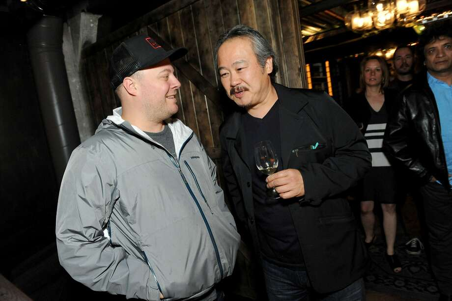 The San Francisco Chronicle celebrated their choice of the top 100 Bay Area restaurants at the Dirty Habit in San Francisco on June 2, 2014. From left are: Evan Rich of Rich Table and Hiro Sone of Terra. Photo: Susana Bates, Special To The Chronicle