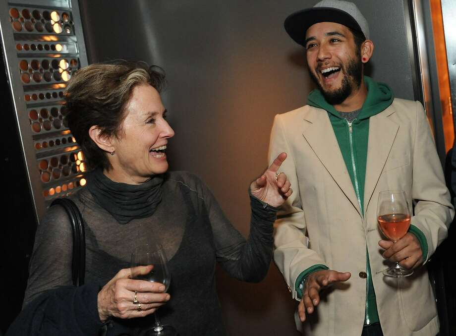 The San Francisco Chronicle celebrated their choice of the top 100 Bay Area restaurants at the Dirty Habit in San Francisco on June 2, 2014. From left are: Alice Waters of Chez Panisse and David Williams of Bull Valley Roadhouse. Photo: Susana Bates, Special To The Chronicle