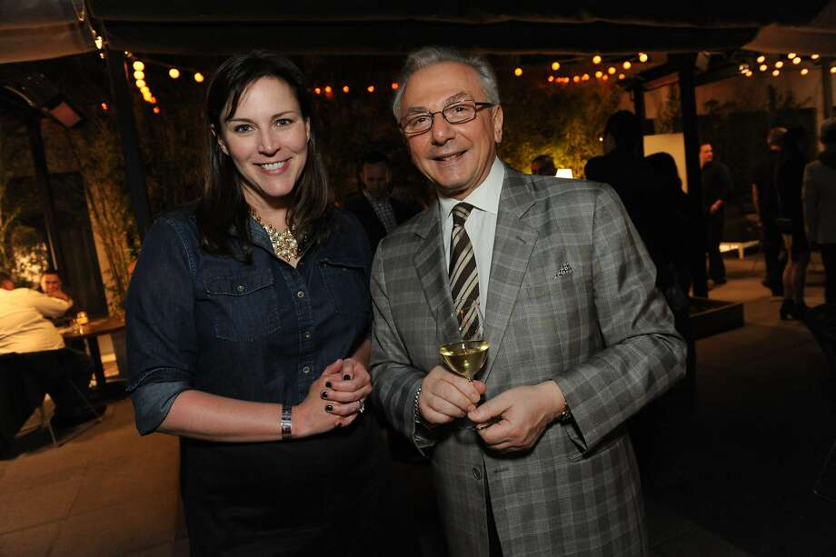 The San Francisco Chronicle celebrated their choice of the top 100 Bay Area restaurants at the Dirty Habit in San Francisco on June 2, 2014. From left are SF Chronicle Managing Editor Audrey Cooper and Perbacco owner Umberto Gibin. Photo: Susana Bates, Special To The Chronicle