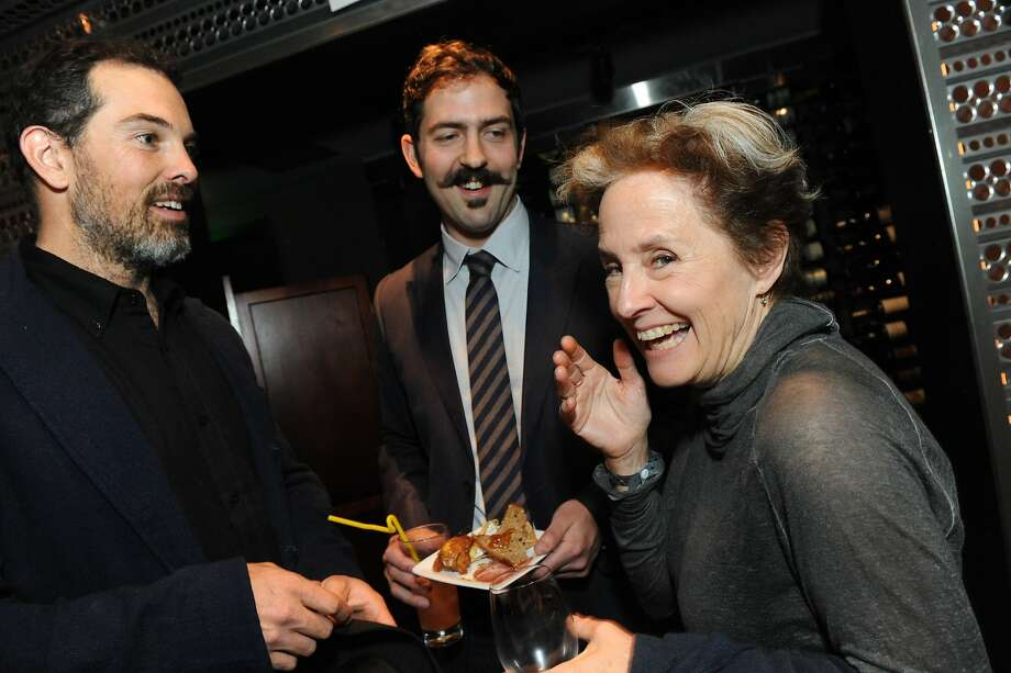 The San Francisco Chronicle celebrated their choice of the top 100 Bay Area restaurants at the Dirty Habit in San Francisco on June 2, 2014. From left are: Charlie Hallowell of Pizzaiolo, Sam White of Ramen Shop, and Alice Waters of Chez Panisse. Photo: Susana Bates, Special To The Chronicle