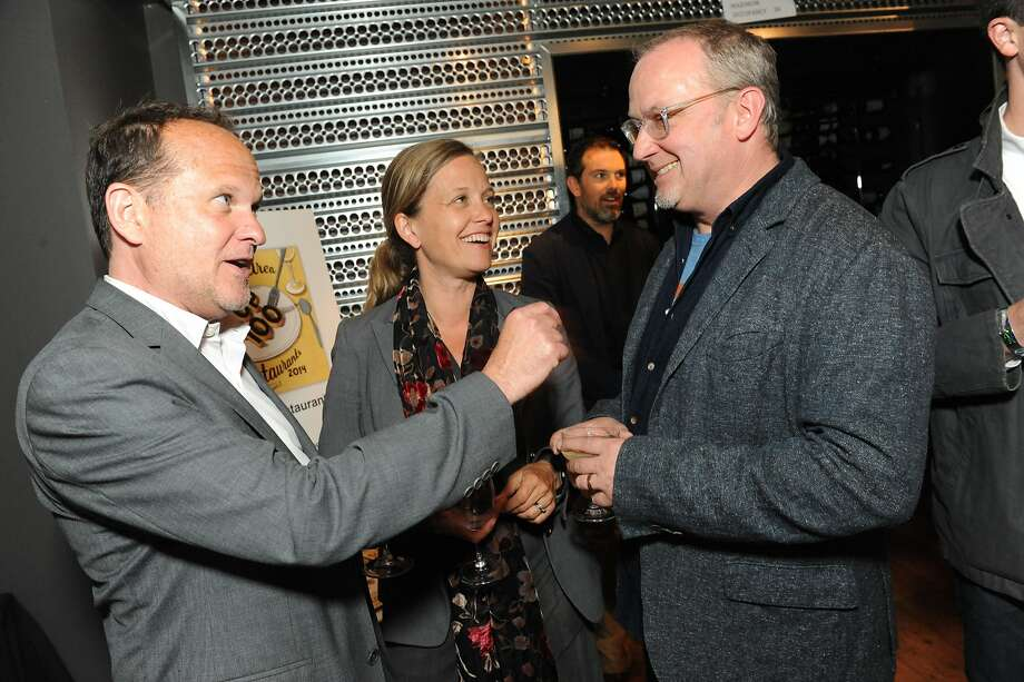 The San Francisco Chronicle celebrated their choice of the top 100 Bay Area restaurants at the Dirty Habit in San Francisco on June 2, 2014. From left are John Miller (SFChronicle) and Annika Toernqvist (SFGate) and Bruce Hill, owner of Bix, Zero Zero and Pico. Photo: Susana Bates, Special To The Chronicle
