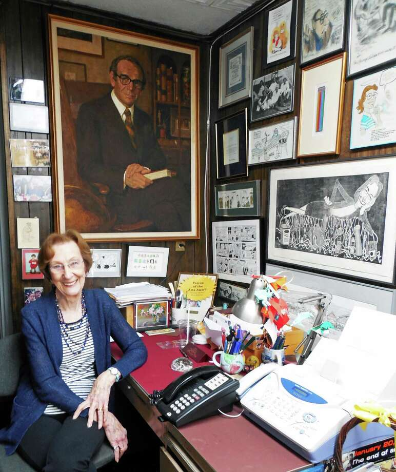 Shirley Mellor, who founded Max's Art Supplies with her late husband, Max Kaplan in 1956, sits in her office at the Post Road East store, surrounded by mementoes from artists who frequented the store over the years. A painting of Max hangs on the wall behind her. The store will close in September. Photo: Anne M. Amato / westport news