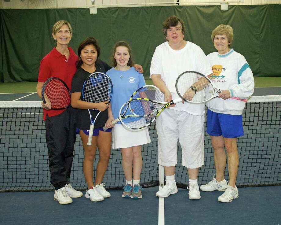 Team Connecticut Unified Sports tennis players for the Special Olympics USA Games include Barbara Fitzpatrick of Darien (coach), Kyra Fitzpatrick of Darien, Maya Todrin of Stamford, Grace Knechtle of New Canaan and Lyn Nevins of Darien. Photo: Contributed Photo, Contributed / New Canaan News Contributed