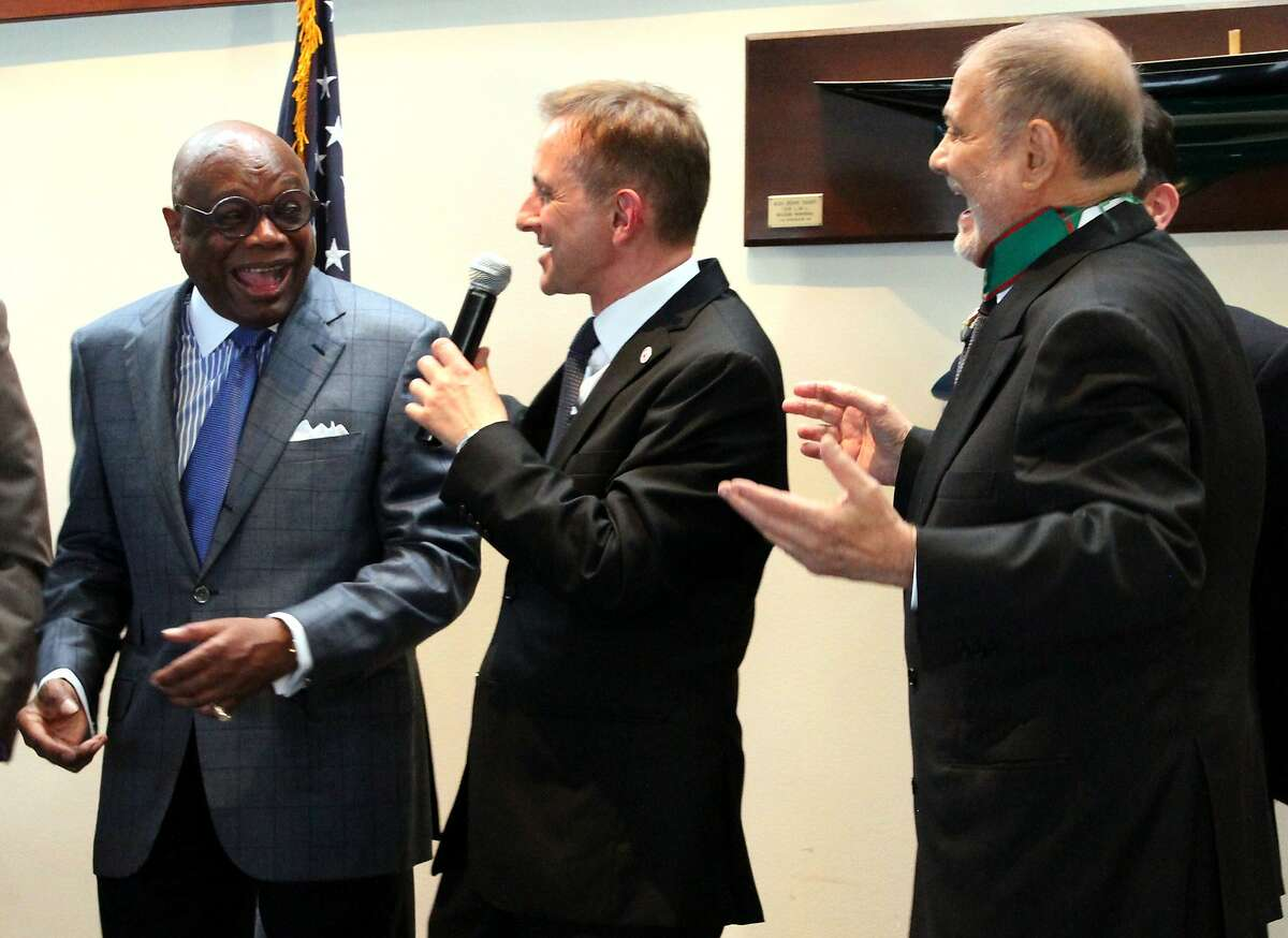 Former San Francisco mayor Willie Brown, Mauro Battocchi, Consul General of Italy, and Angelo Quaranta share a laugh at the Italian Cultural Association's celebration of Italy?•s Republic Day on Monday, June 2, 2014 in San Francisco, Calif.