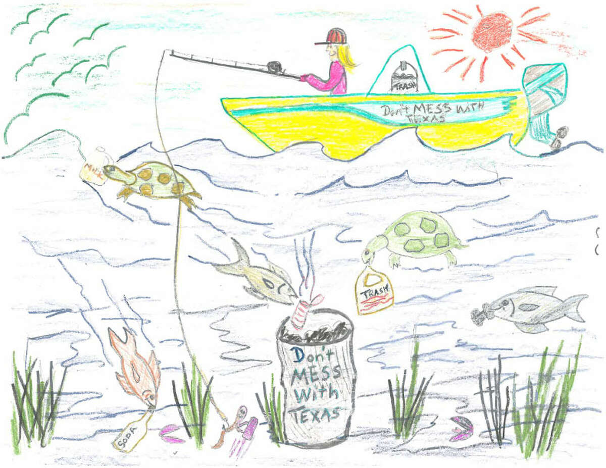 The 2015 Don't Mess with Texas calendar will feature artwork from 12 students from kindergarten to fifth grade. This drawing is from San Antonio third grader Kara Kucera of Christian Evers Elementary.