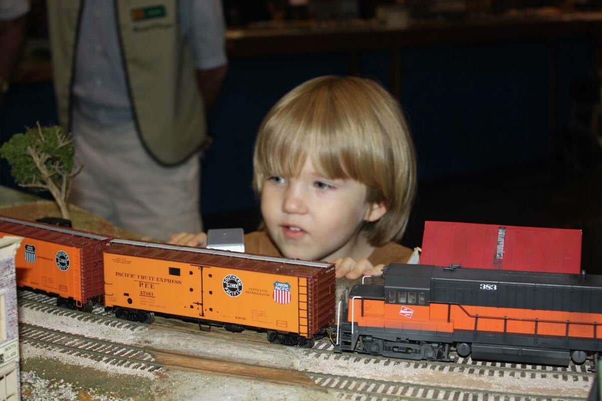 Asher Larkin Murray checks out the action at the Rosenberg Railroad Museum.