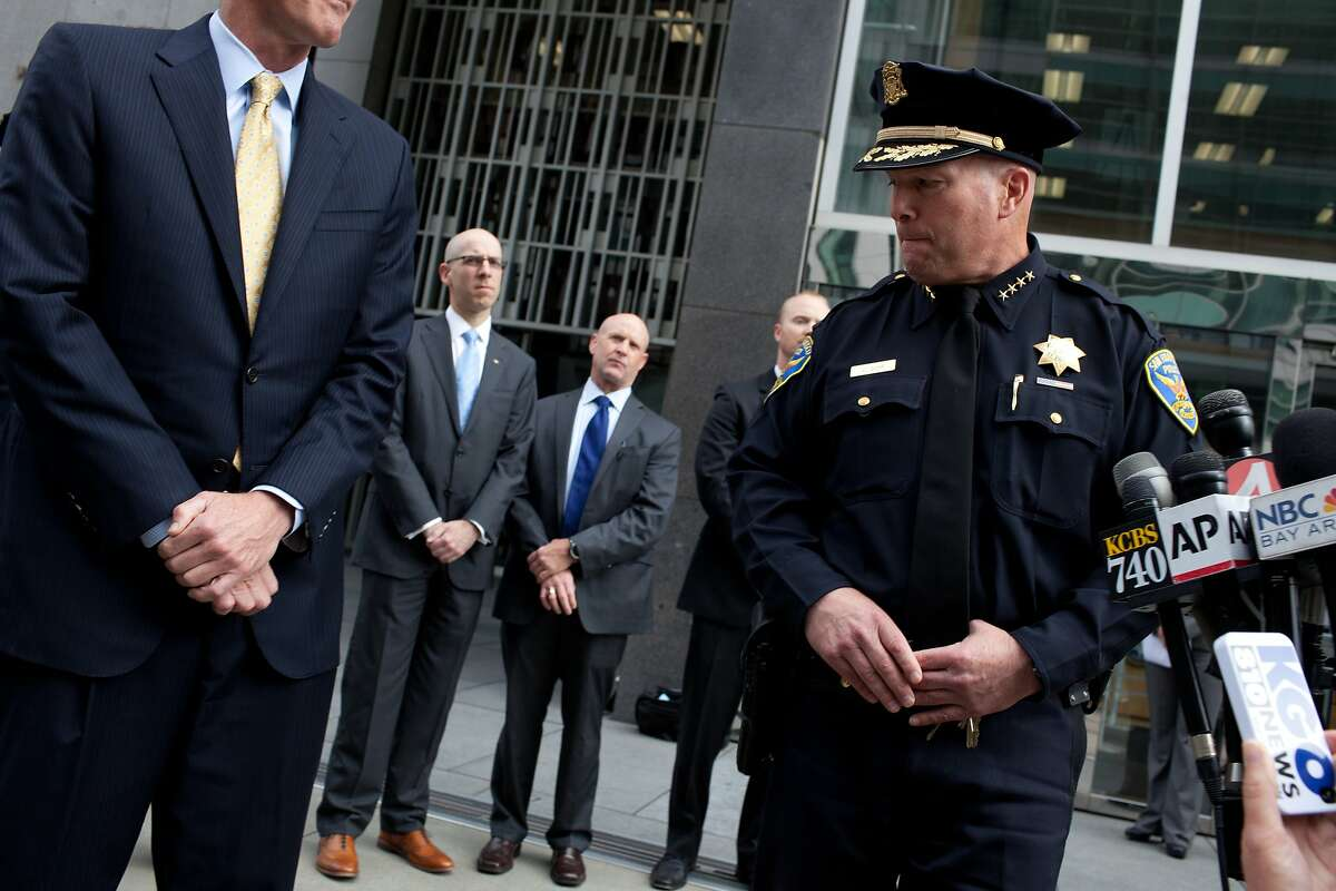 San Francisco Chief of Police Greg Suhr, right, steps away after addressing the press with Special Agent in Charge David Johnson, left, at the Federal Building in San Francisco, Calif. on Tuesday, June 3, 2014 about suspect Ryan Chamberlain, who was arrested in an explosives investigation at San Francisco's Crissy Field on Monday night, June 2, 2014 after a three-day nationwide manhunt.