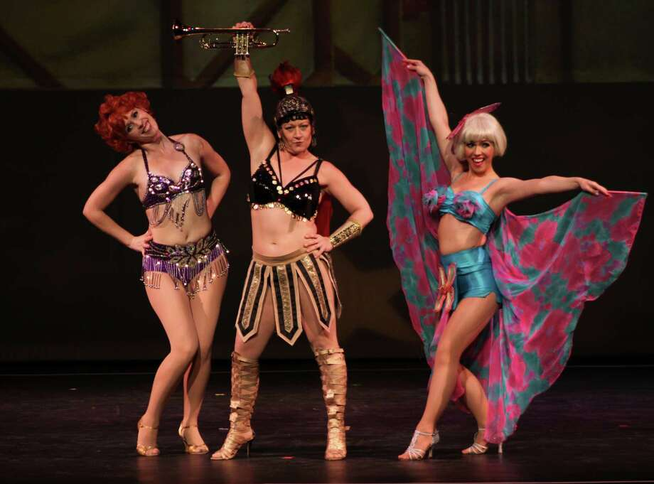 "The musical ""Gypsy"" tells the rise-to-the-top story of striptease artist Gypsy Rose Lee. Seen here in Stamford's Curtain Call theater company's production of the musical are three ""seasoned"" strippers trying to explain their personal styles to Gypsy. Pictured are Caitlin Roberts, Heidi Giarlo and Sarah Giggar. The show starts on Friday, June 6, 2014. Photo: Contributed Photo / Stamford Advocate Contributed photo"