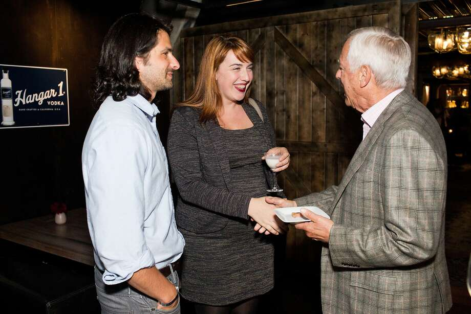 Chronicle food writer Paolo Lucchesi with Heidi Brown, of the Restaurant at Meadowood, and Larry Mindel of Poggio during the San Francisco Chronicle's Top 100 party at Dirty Habit in San Francisco, Calif., Monday, June 2, 2014. Photo: Jason Henry, Special To The Chronicle