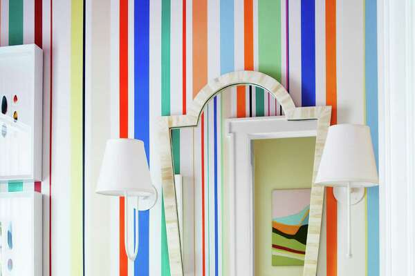 Hand-Painted Design The powder room's hand-painted stripes by Deirdre Newman combine colors used throughout Rye, New York, Tudor house designed by Sara Gilbane. Sink by Waterworks. The Best Bathroom DesignsHow To Create An At-Home Getaway12 Best Paint Colors For Your FoyerOrganizing Tips For Every RoomThe Bathroom Renovation ChecklistThe Colors That Will Define The Year Ahead
