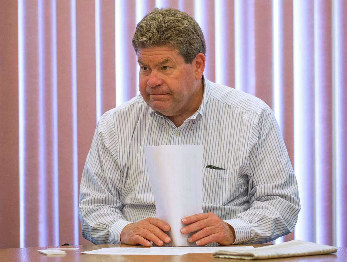 Tom Simpson, president of the Railway Supply Institute, addresses safety issues concerning recent Bakken crude tank rail car problems across North America at Times Union on Tuesday June 3, 2014. (Tom Brenner/ Special to the Times Union)