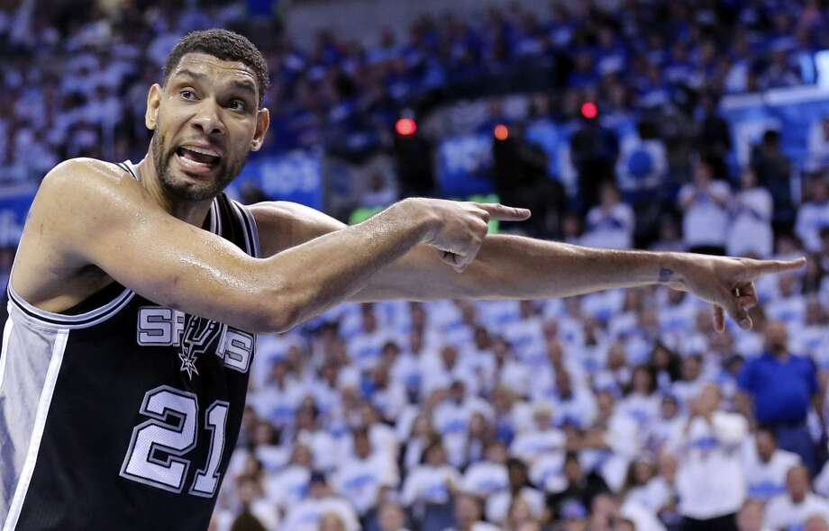 San Antonio Spurs' Tim Duncan reacts after a play during second half action in Game 4 of the Western Conference Finals against the Oklahoma City Thunder Tuesday May 27, 2014 at Chesapeake Energy Arena in Oklahoma City, OK. Photo: Edward A. Ornelas, San Antonio Express-News