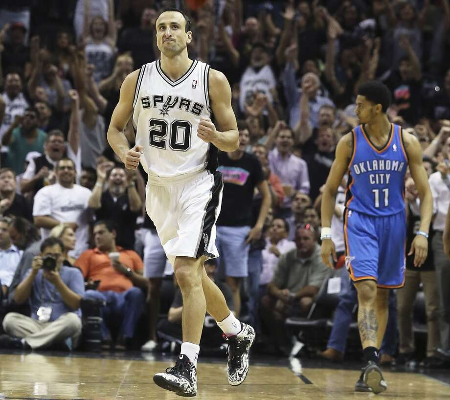 Manu Ginobili clenches his fist after hitting a shot in the second half as  the Spurs play the fifth game of the Western Conference Finals against the Oklahoma City Thunder on May 29, 2014. Photo: Tom Reel, San Antonio Express-News