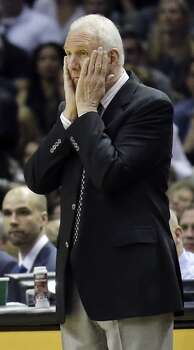 San Antonio Spurs head coach Gregg Popovich reacts during Game 5 of the Western Conference finals against the Oklahoma City Thunder Thursday May 29, 2014 at the AT&T Center. Photo: Edward A. Ornelas, San Antonio Express-News