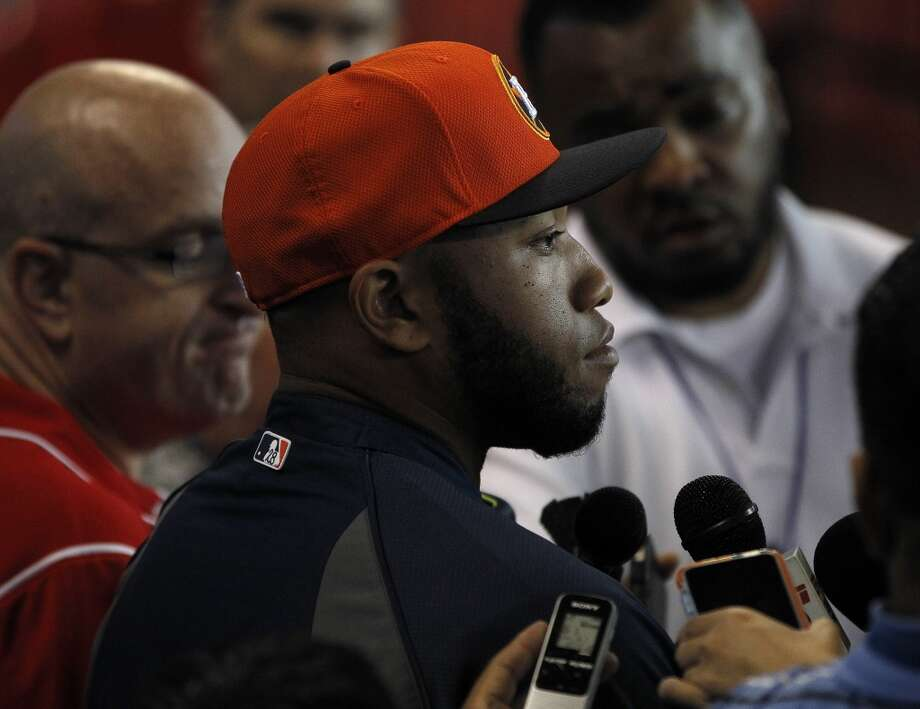 Jon Singleton, who was just signed and brought up from the minors speaks to the media. Photo: Karen Warren, Houston Chronicle