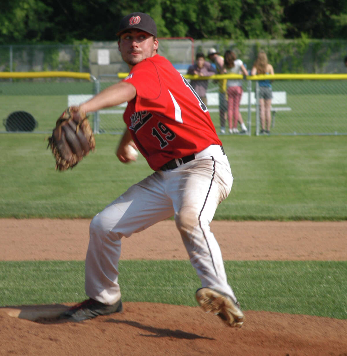 Fairfield Warde pitcher Nick Nardone on the mound against Staples in a CIAC Class LL baseball second-round game on Tuesday, June 3 in Westport. The Mustangs advanced to the quarterfinals by defeating the Wreckers.